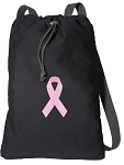 Pink Ribbon Cotton Drawstring Bag Backpacks