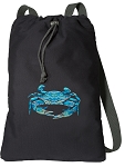 BLUE CRAB Cotton Drawstring Bag Backpacks
