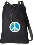 Peace Sign Cotton Drawstring Bag Backpacks