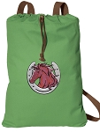 Horse Theme Cotton Drawstring Bag Backpacks COOL GREEN