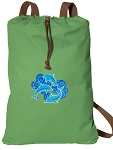 DOLPHINS Cotton Drawstring Bag Backpacks COOL GREEN