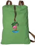 Flamingo Cotton Drawstring Bag Backpacks COOL GREEN