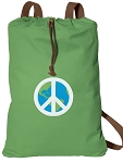 Peace Sign Cotton Drawstring Bag Backpacks COOL GREEN