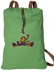 Peace Frogs Cotton Drawstring Bag Backpacks COOL GREEN