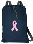 Pink Ribbon Cotton Drawstring Bag Backpacks RICH NAVY