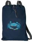 BLUE CRAB Cotton Drawstring Bag Backpacks RICH NAVY