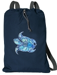 Turtle Cotton Drawstring Bag Backpacks RICH NAVY