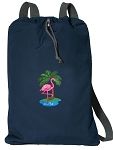 Flamingo Cotton Drawstring Bag Backpacks RICH NAVY