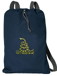 Don't Tread on Me Cotton Drawstring Bag Backpacks RICH NAVY