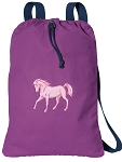 Cute Horse Cotton Drawstring Bag Backpacks COOL PURPLE