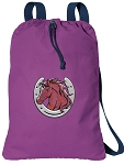 Horse Cotton Drawstring Bag Backpacks COOL PURPLE
