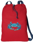BLUE CRAB Cotton Drawstring Bag Backpacks COOL RED