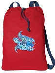 Turtle Cotton Drawstring Bag Backpacks COOL RED