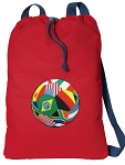 Soccer Cotton Drawstring Bag Backpacks COOL RED
