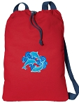 DOLPHINS Cotton Drawstring Bag Backpacks COOL RED