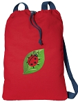 Ladybug Cotton Drawstring Bag Backpacks COOL RED