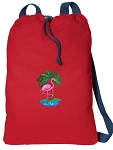 Flamingo Cotton Drawstring Bag Backpacks COOL RED