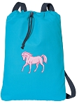 Cute Horse Cotton Drawstring Bag Backpacks COOL BLUE