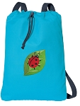 Ladybug Cotton Drawstring Bag Backpacks COOL BLUE