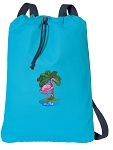 Flamingo Cotton Drawstring Bag Backpacks COOL BLUE