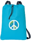 Peace Sign Cotton Drawstring Bag Backpacks COOL BLUE