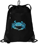 BLUE CRAB Drawstring Backpack-MESH & MICROFIBER