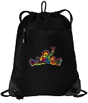 Peace Frogs Drawstring Backpack-MESH & MICROFIBER