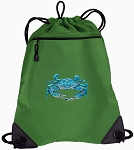 BLUE CRAB Drawstring Backpack Mesh and Microfiber