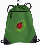 Ladybug Drawstring Backpack Mesh and Microfiber