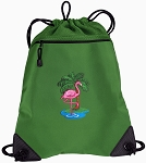 Flamingo Drawstring Backpack Mesh and Microfiber