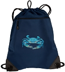 BLUE CRAB Drawstring Backpack-MESH & MICROFIBER Navy