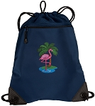Flamingo Drawstring Backpack-MESH & MICROFIBER Navy