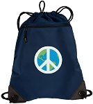 Peace Sign Drawstring Backpack-MESH & MICROFIBER Navy