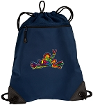 Peace Frogs Drawstring Backpack-MESH & MICROFIBER Navy