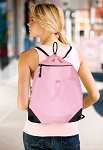 Pink Ribbon Drawstring Bag Mesh and Microfiber Pink