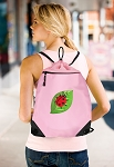 Ladybug Drawstring Bag Mesh and Microfiber Pink