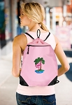 Flamingo Drawstring Bag Mesh and Microfiber Pink