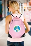 Peace Sign Drawstring Bag Mesh and Microfiber Pink