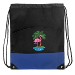 Flamingo Drawstring Backpack Bag Blue