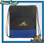Peace Frogs Drawstring Backpack Bag Blue