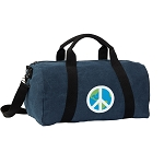Peace Sign Duffel RICH COTTON Washed Finish Blue
