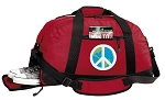 Peace Sign Duffel Bag with Shoe Pocket Red