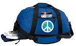 Peace Sign Duffel Bag with Shoe Pocket Blue
