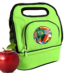 Soccer Lunch Bag 2 Section Lime