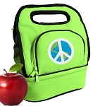 Peace Sign Lunch Bag 2 Section Lime