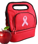 Pink Ribbon Lunch Bag 2 Section Red
