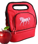 Cute Horse Lunch Bag 2 Section Red