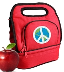 Peace Sign Lunch Bag 2 Section Red