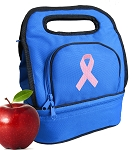 Pink Ribbon Lunch Bag 2 Section Blue