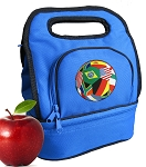Soccer Lunch Bag 2 Section Blue